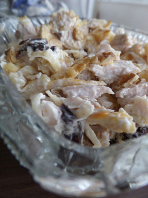 Закуска из курицы с черносливом, сыром и грецким орехом